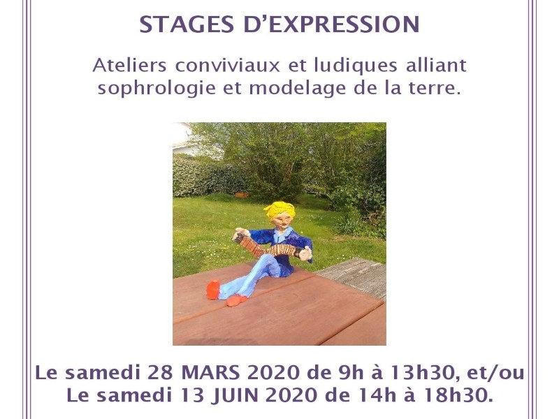 Stages d'expression alliant sophrologie et modelage de la terre.